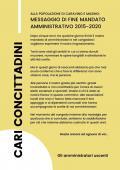ALLA POPOLAZIONE DI CARAVINO E MASINO: MESSAGGIO DI FINE MANDATO AMMINISTRATIVO 2015-2020